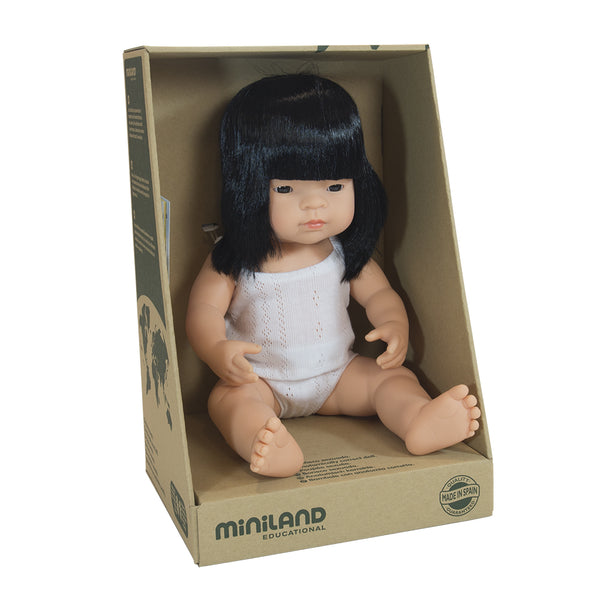 Miniland Doll - Anatomically Correct Baby, Asian Girl, 38 cm - Wildwood Lane