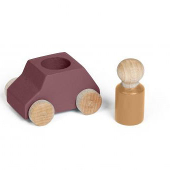 Wooden Car and Figure- Plum/Ochre - Wildwood Lane