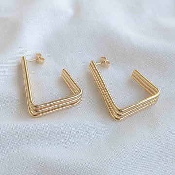 Tri-Lane Triangle Earrings