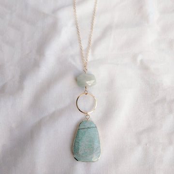 Amazonite Long Circle Necklace