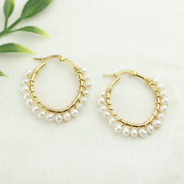 Freshwater Pearls Oval Earrings