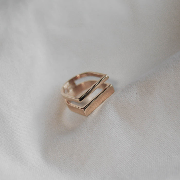 Layered Hexagon Ring