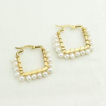 Freshwater Pearls Squared Earrings