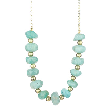 Amazonite Beaded Long Necklace