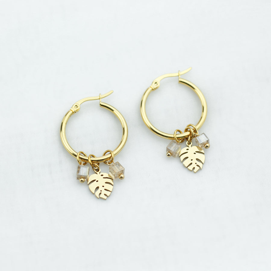 Crystal Cubes Monstera Hoops