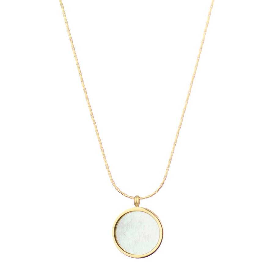Mother Of Pearl Coin Necklace