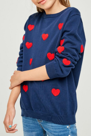 Knitted Hearts Sweater Shirt Girls 9-10