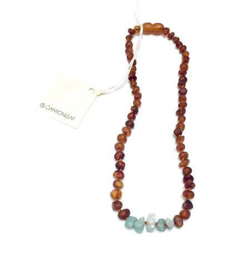 Canyon Leaf Baltic Amber teething necklace +Amazonite