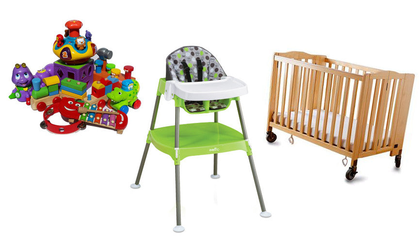 High Chair+Crib+Toys Bundle
