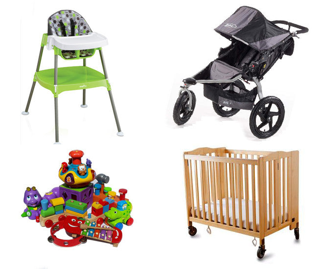 Single BOB Jogger+High Chair+Crib+Toys Bundle