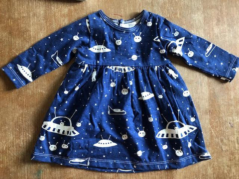 Infant Organic Cotton Long Sleeve Outer space Dress
