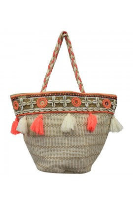 Beaded Coral Bucket Bag