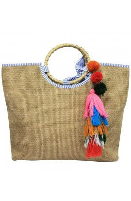 Colorful Tassel Jute Bag