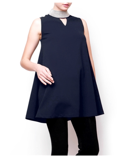Navy Stud Neck Tunic Dress