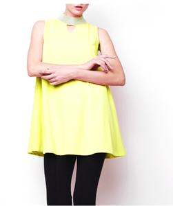 Neon Stud Neck Tunic Dress