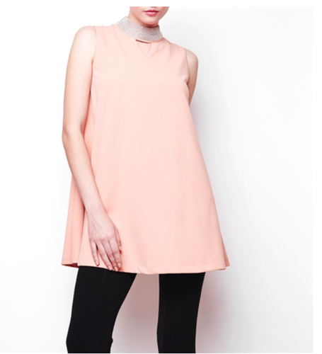 Peach Stud Neck Tunic Dress