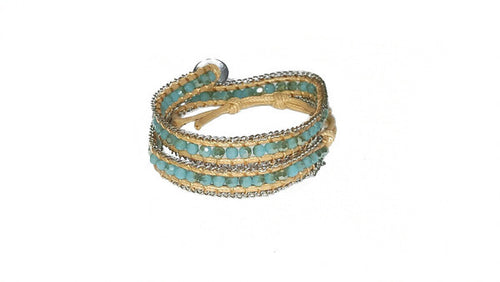 Beige & Teal Beaded Wrap Bracelet