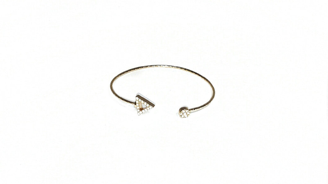 Gold Jenny Cuff Arrow w/ White Stones