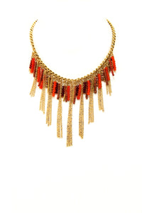Red Amulet Bib-Style Necklace