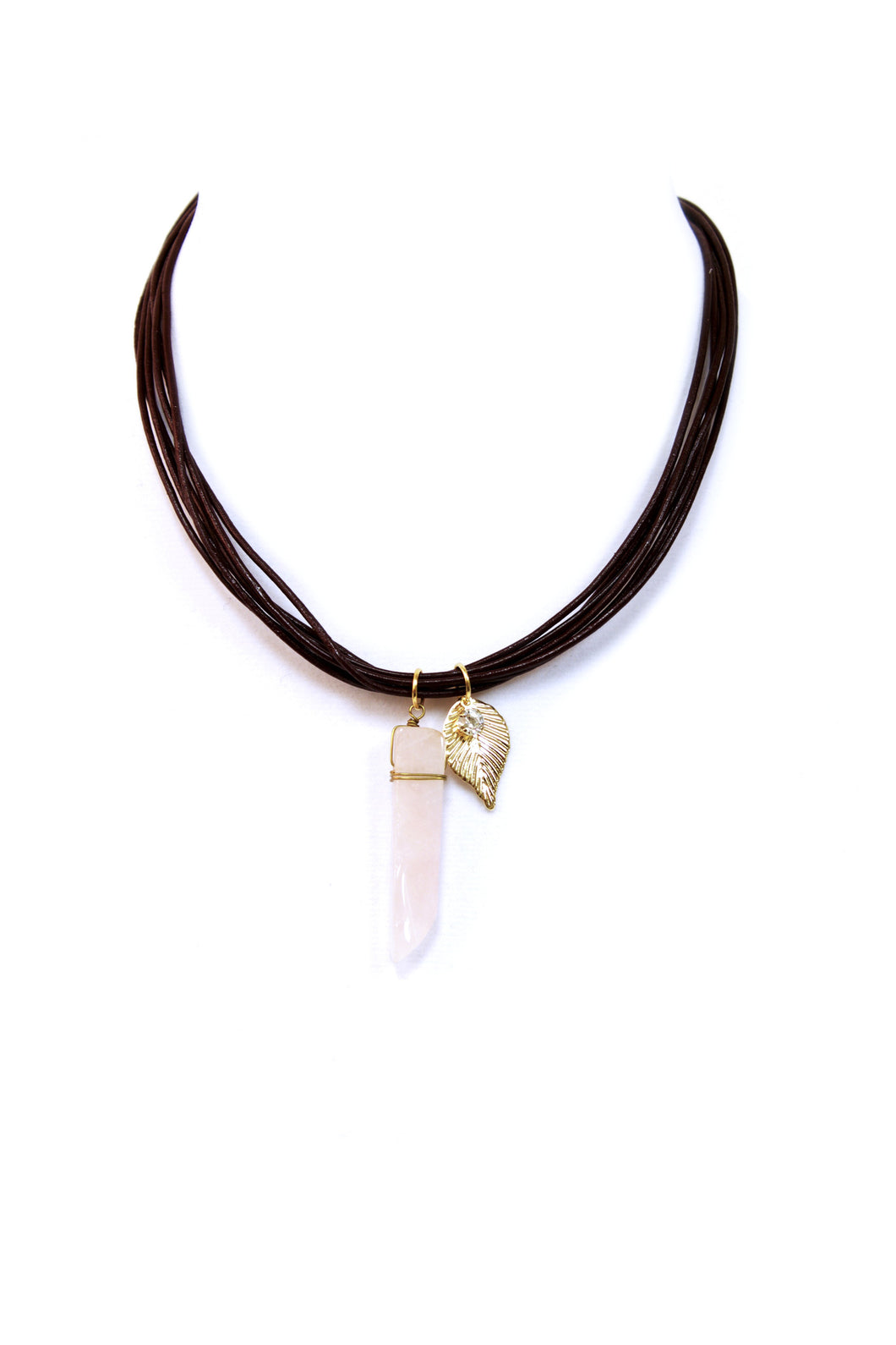 Brown Faux Leather & Stone Necklace