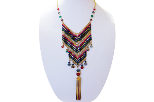 Costa Beaded Tassel Necklace