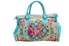 Teal Flower Pattern Handbag