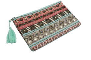Embellished Jacquard Clutch