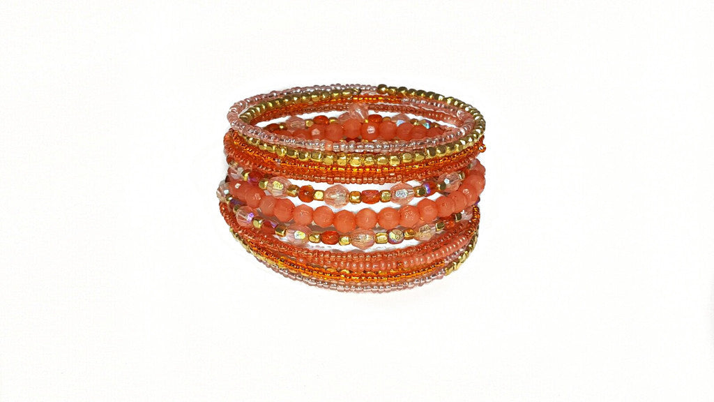 Orange Positano Beaded Bracelet