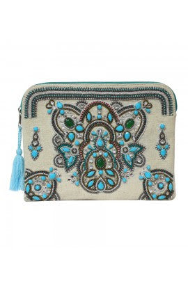 Teal Embellished Clutch