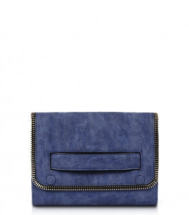 River Distressed Clutch - Blue
