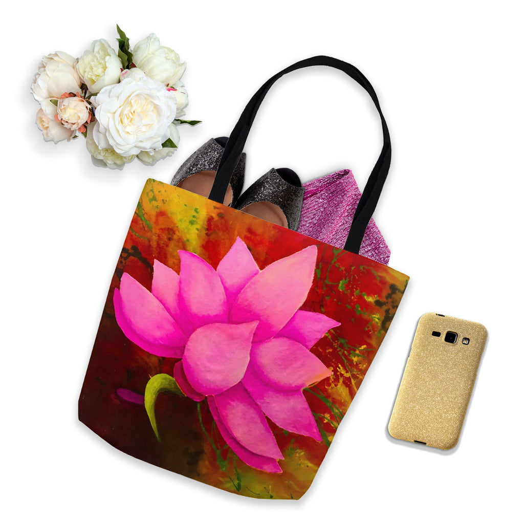 Pink Lotus Tote Bag of Heavenly Delight