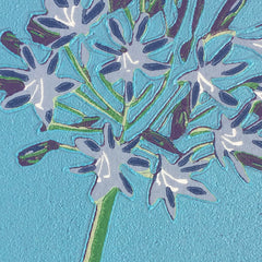 Limited Edition Print Signed Reduction Linocut Agapanthus Day