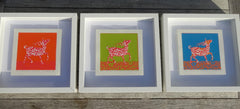 Limited Edition Print Signed Reduction Linocuts Antelopes framed