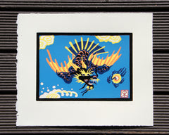 Limited Edition Print Signed Reduction Linocut Dragon Bird II