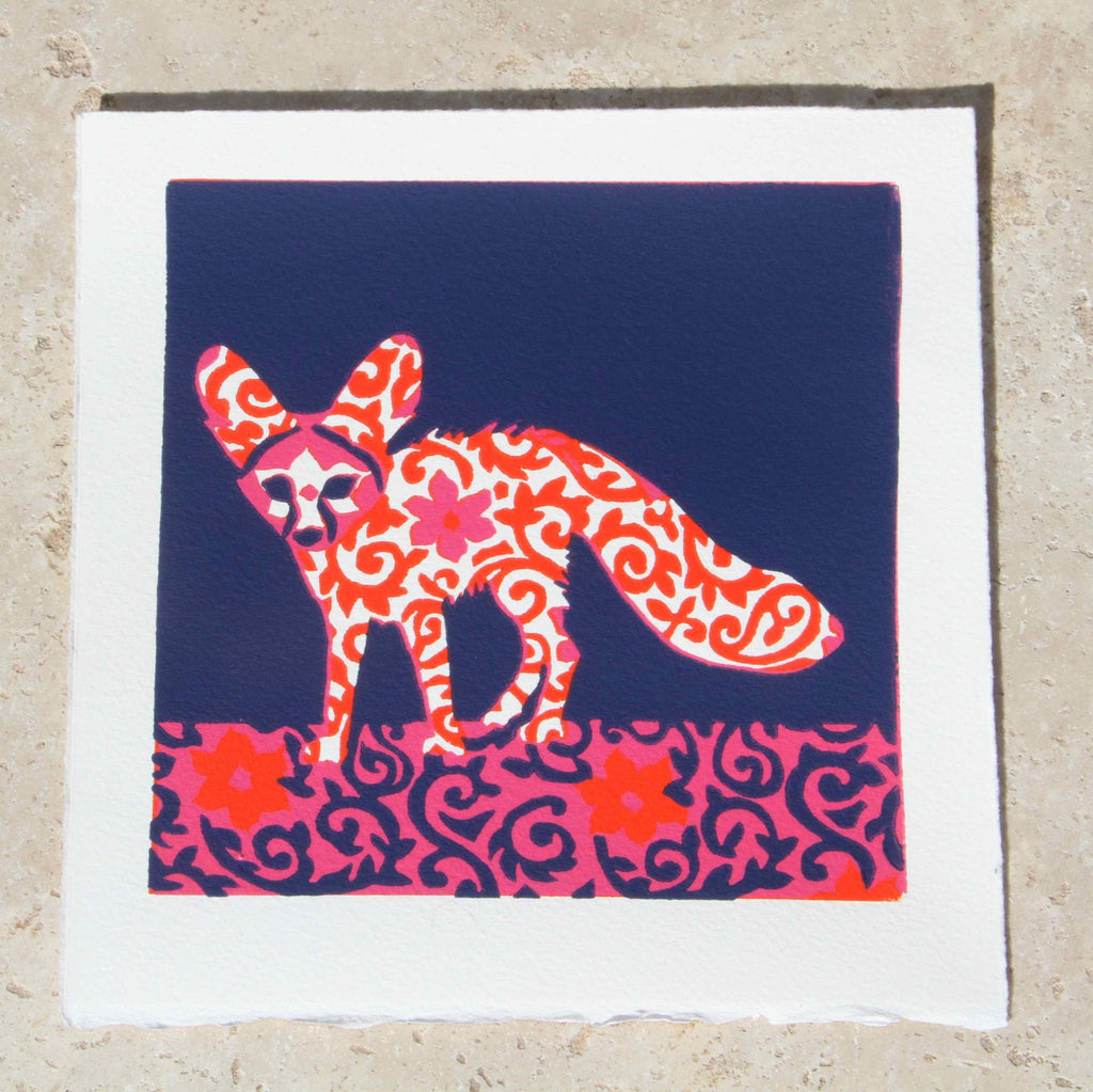 Limited Edition Print Signed Reduction Linocut Fennec Fox III