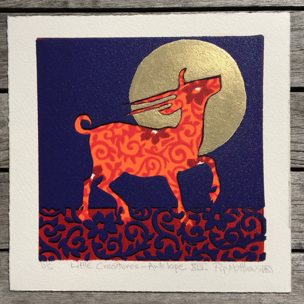 Limited Edition Print Signed Gilded Linocut Antelope XIV