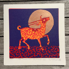 Limited Edition Print Signed Gilded Linocut Antelope XVII