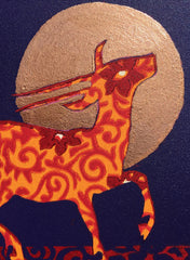 Limited Edition Print Signed Gilded Linocut Antelope XVII closeup