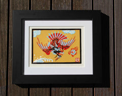 Limited Edition Print Signed Reduction Linocut Dragon Bird I framed