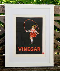 Limited Edition Print Signed Reduction Linocut Skipping Girl Night framed