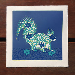 Limited Edition Print Signed Reduction Linocut Squirrel IV
