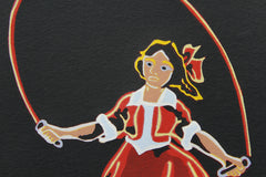 Limited Edition Print Signed Reduction Linocut Skipping Girl Night closeup