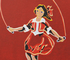 Limited Edition Print Signed Reduction Linocut Skipping Girl Red closeup