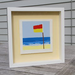 Limited Edition Print Signed Reduction Linocut Back Beach framed