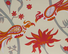 Limited Edition Print Signed Reduction Linocut Birds Jungle Flowers II closeup