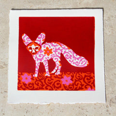 Limited Edition Print Signed Reduction Linocut Fennec Fox I
