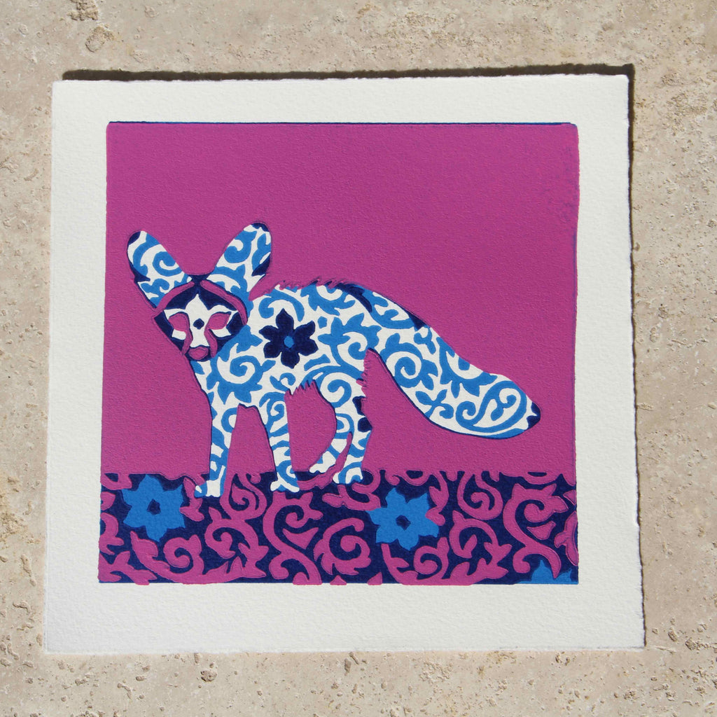 Limited Edition Print Signed Reduction Linocut Fennec Fox II