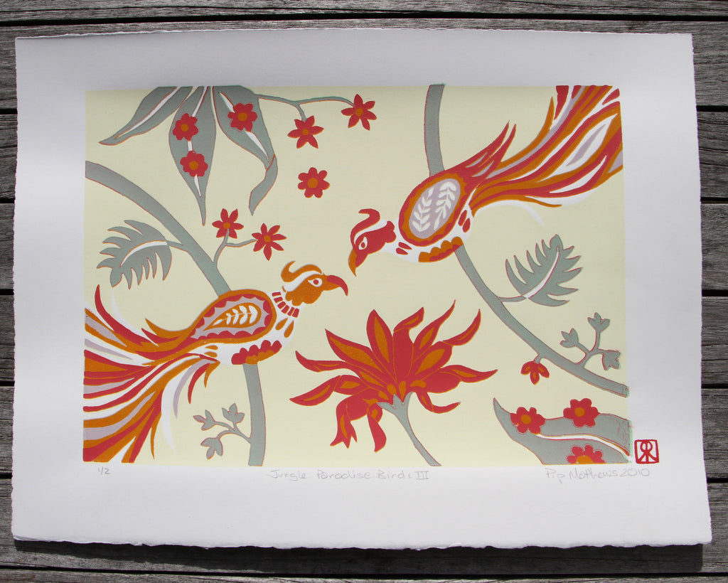 Limited Edition Print Signed Reduction Linocut Birds Jungle Flowers II
