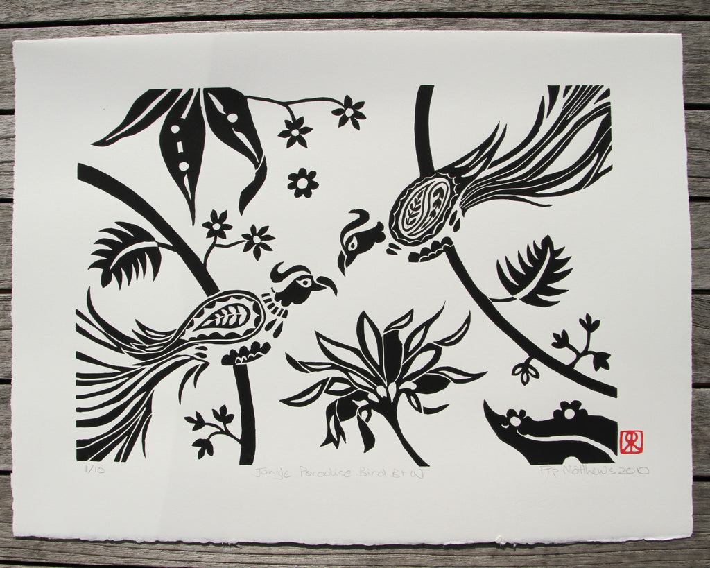 Limited Edition Print Signed Linocut Birds Jungle Flowers Pip Matthews