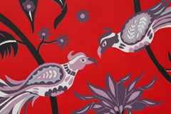 Limited Edition Print Signed Reduction Linocut Birds Jungle Flowers Red closeup